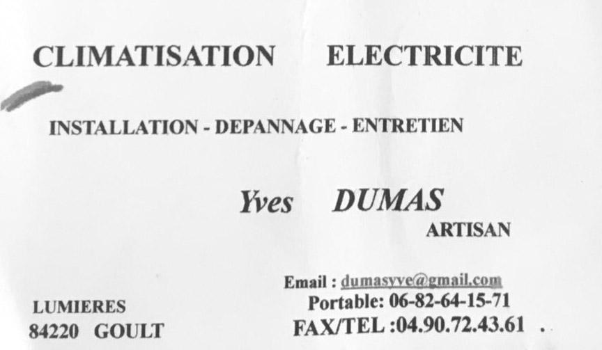 carte de visite Dumas electricité- bonnet peinture decoration